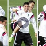 Cristiano Ronaldo ball tricks in training that left James stunned